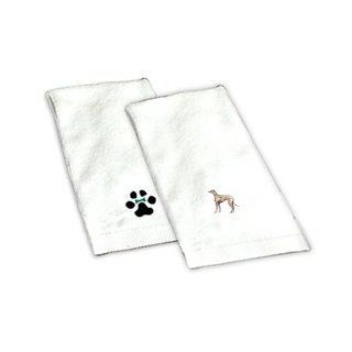 Our Greyhound Fawn white hand towel is 100% cotton and measures 16X26. It is directly embroidered with your Greyhound Fawn image. This is a unique gift idea for your dog loving friend or family member. This towel makes a perfect addition to any bathroom an