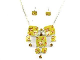 "Red Color Austrian Crystal and Enamel Jewelry Set with A 3"" Extender: Belle Fashion: Jewelry"