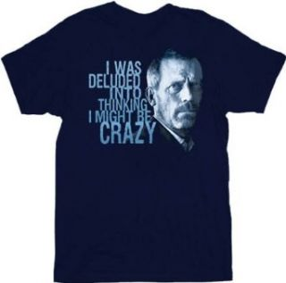 House M.D. I Was Deluded Face Adult Navy T Shirt Tee: Clothing