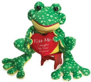 "Jumbo Valentine's Plush  Freddie the Frog  ""Kiss me I might be your prince"" Toys & Games"