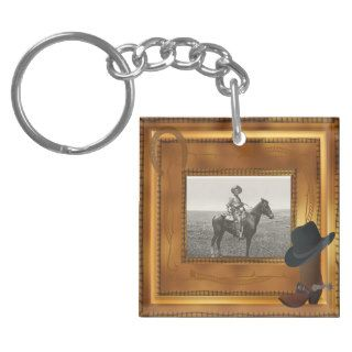 Western Theme with Boot & Hat Photo Template Acrylic Key Chains