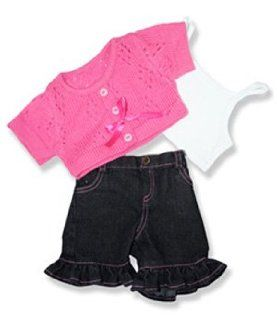 "Pink Sweater and Frill Pants Outfit Teddy Bear Clothes Fits Most 14""   18"" Build a bear, Vermont Teddy Bears, and Make Your Own Stuffed Animals: Toys & Games"