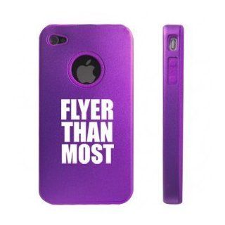 Apple iPhone 4 4S 4G Purple DD179 Aluminum & Silicone Case Flyer Than Most: Cell Phones & Accessories