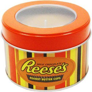 Mostly Memories Hershey's Reeses 5 Ounce Window Tin Soy Candle   Travel Tins