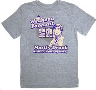 The Hangover Weekend Forecast Mostly Drunk Chance Horny Heather Gray T shirt Tee: Movie And Tv Fan T Shirts: Clothing