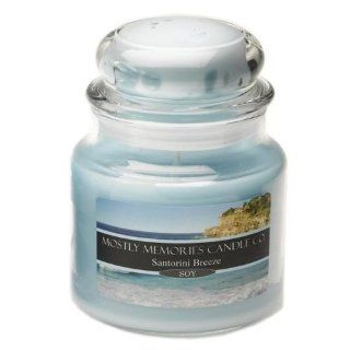 Mostly Memories Santorini Breeze 20 Ounce Lid Lites Soy Candle   Jar Candles