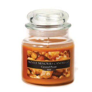 Mostly Memories Caramel Pecan 16 Ounce Lid Lites Soy Candle   Jar Candles