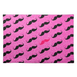Funny Hipster Girly Pink Black Mustache Pattern Placemat