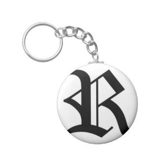 R text Old English Key Chains