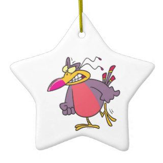 silly angry mad bird cartoon character christmas ornaments