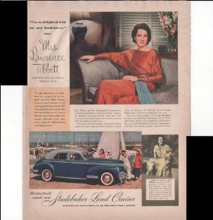 Studebaker Land Cruiser Mrs. Laurence Tibbett Wife Of Famous Operatic Star Care Automobile 1940 Vintage Antique Advertisement : Prints : Everything Else