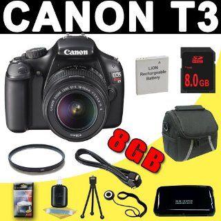 Canon EOS Rebel T3 12.2 MP Digital SLR Camera (1100D) T3 w/ 18 55mm IS II Lens (Black) & 8GB DavisMAX Kit  Digital Slr Camera Bundles  Camera & Photo