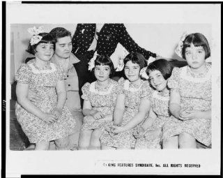 Photo: Mrs. Dionne, Cecile, Marie, Emilie, Annette, Yvonne 1942   Prints