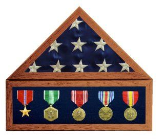 """Solid Oak, 3X5 Flag Display Case w/ 6 in. Shadow Box w/ Blue Velvet, Red Stain   for a folded flag that measures around 14"""" along the bottom edge   Display Stands"""