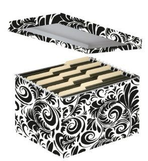 Snap N Store Letter and Legal File Box, Interior Dimensions 9.5 x 14.75 x 12.25 Inches, Black and White Scroll Design (SNS01835) : Filing Crates : Office Products