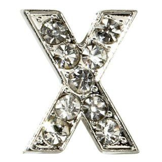 "Sugar N Vine Ice Crystal Covered Alphabet Letter ""X"" Slide Charm   Works with Slider Style Buckle Charm Bracelets!: Jewelry"