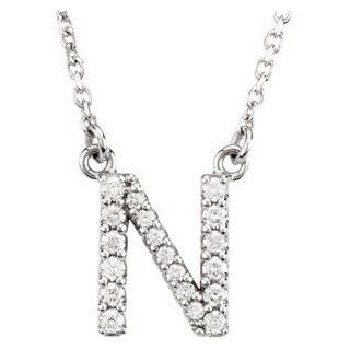 """14k White Gold Diamond Alphabet Letter N Necklace (1/6 Cttw, GH Color, l1 Clarity), 16.25"""": Pendant Necklaces: Jewelry"""