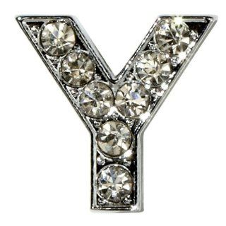 "Sugar N Vine Ice Crystal Covered Alphabet Letter ""Y"" Slide Charm   Works with Slider Style Buckle Charm Bracelets!: Jewelry"