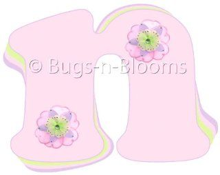 """""""n"""" Pink Purple Green Daisy Flower Alphabet Letter Name Wall Sticker   Decal Letters for Children's, Nursery & Baby's Room Decor, Baby Name Wall Letters, Girls Bedroom Wall Letter Decorations, Child's Names. Flowers Mural Walls De"""