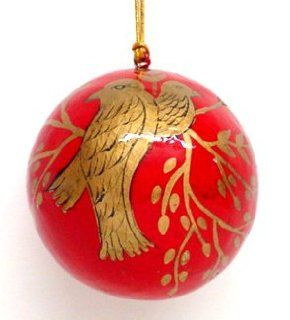 Hand Painted Paper Mache Christmas Ornament Birds   Christmas Ball Ornaments