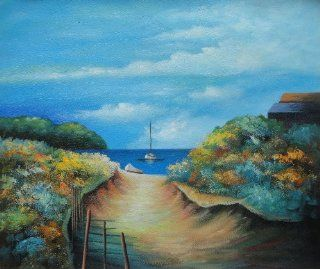 Small Sand Path to Sea Near Beach House Oil Painting 20x24 Inch, Unstretched/Unframed