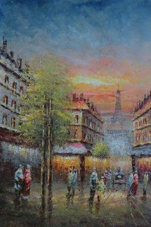 Street Scene Near Paris Eiffel Tower Large Oil Painting 36x24 Inch, Unstretched/Unframed