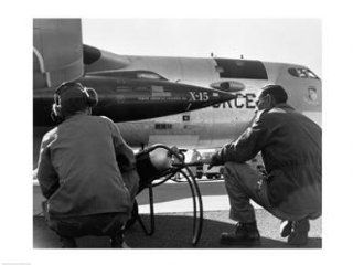 PVT/Superstock SAL25543867 Rear view of two men crouching near fighter planes, X 15 Rocket Research Airplane, B 52 Mothership  24 x 18  Poster Print: Toys & Games
