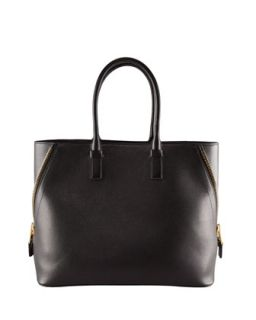 Jennifer Trap Calfskin Tote Bag, Black   Tom Ford