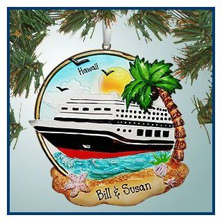 Personalized Christmas Ornaments   Cruise Ship Near Beach   Personalized with Perfect Handwriting   Christmas Pendant Ornaments