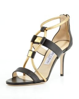 Venus Leather Stud Sandal, Black/Gold   Jimmy Choo   Black/Gold (37.0B/7.0B)