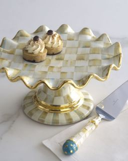 Parchment Check Cake Stand   MacKenzie Childs