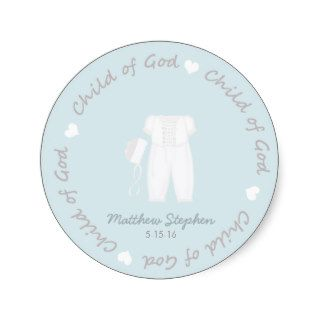 Child of God Baptism Three Piece Outfit and Bonnet Sticker