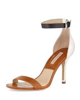Natasia Three Tone Naked Sandal   Michael Kors   Luggage/Optic whi (40.5B/10.5B)
