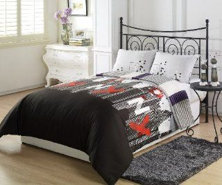 Chezmoi Collection New York City Purple Black Grey Stripe 2 Piece Reversible Comforter Set, Twin/X Large Twin