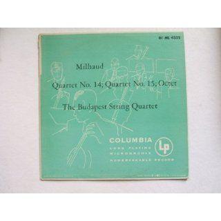 Milhaud Quartet No. 14, No. 15, Octet. The Budapest String Quartet. Vinyl. Music