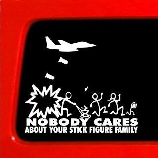 Jet Fighter Stick Figure Family Nobody Cares bomb funny stickers car decal bumper vinyl Sticker *: Automotive