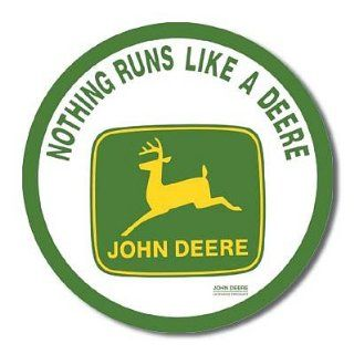 John Deere Nothing Runs Like a Deere Tractor Round Logo Retro Vintage Tin Sign   Prints