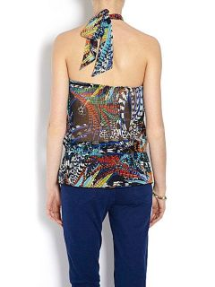 Morgan Layered top with bright print Turquoise