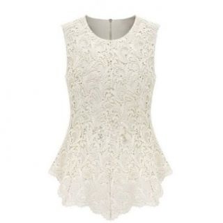 Uoften Women��s Sexy Peplum Lace Shirt Trendy Sleeveless Blouse White M at  Women�s Clothing store: Lace Shirts For Women