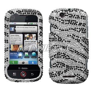 Motorola CLIQ MB200 / DEXT MB200 Black Zebra Skin Diamante Protector Cover Full Rhinestones/Diamond/Bling/Diva   Hard Case/Cover/Faceplate/Snap On/Housing: Cell Phones & Accessories