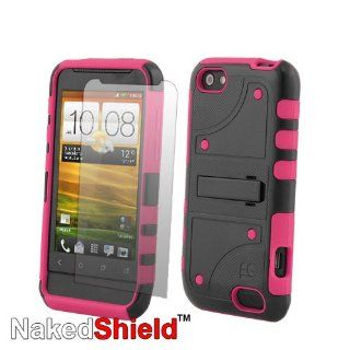 HTC ONE V Tough Armor Skin Case with KickStand and Naked Shield Screen Protector   Black/Pink: Cell Phones & Accessories