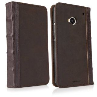 BoxWave Classic Book HTC One Case   Vintage Book Cover Case, Genuine Leather Wallet Case Design with Card Slots and Premium Interior Design for HTC One: Cell Phones & Accessories
