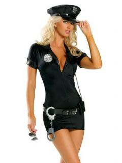 Sexy Police Woman Officer Costume   SMALL/MEDIUM: Clothing