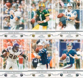 2008 Playoff Prestige Football Series Complete Mint 100 Card Basic Hand Collated Set. Loaded with Stars Including Adrian Peterson, Tony Romo, Reggie Bush, Ben Roethlisberger, Brett Favre, Peyton Manning, Tom Brady, Ladainian Tomlinson, Vince Young, Philip