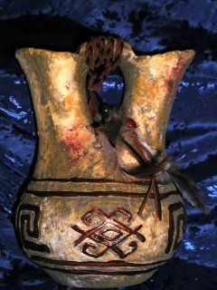 ANASAZI ANCIENT ONES NATIVE AMERICAN INDIAN RITUAL SHAMAN BLESSING SPIRIT PETROGLYPH PRIMITIVE DECOR LARGE DUAL SPOUT STORAGE JUG, Ancient Pueblo Anastasi Mystic Spirit Vision Relic Gallery Style Decorative Pottery  Other Products