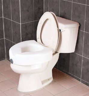 "Raised Toilet Seat   Blow molded locking raised toilet seat without arms has front clamping mechanism ensures secure easy locking onto toilet. Height 7"", width 21"", depth 17"". Weight capacity of 300lbs.: Everything Else"