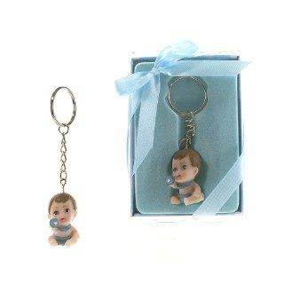 "Lunaura Baby Keepsake   Set of 12 ""Boy"" Baby Holding Onto Pacifier Key Chain Favors   Blue  Baby Keepsake Products  Baby"