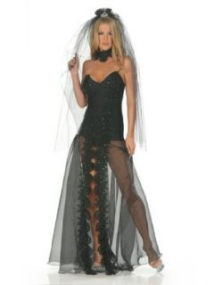 Sexy Gothic Bride Costume Black Dress   SMALL: Adult Sized Costumes: Clothing