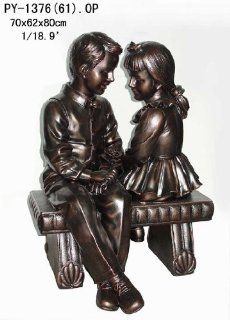"Indoor Outdoor Garden Patio Girl and Boy Sitting on Bench Bronze Colored Statue Sculpture 32""H   Sister Sculpture Outside"