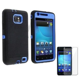 Cell Phone Snap on Cover Fits Samsung I9100 I777 Galaxy S 2, Attain, Within, Function Armor Blue + Black + LCD Screen Protective Film (Outside Black Soft Silicone Skin, Inside Blue Front and Back Hard Case) AT&T, Sprint, Verizon: Cell Phones & Acce